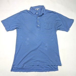 Peter Millar Mens Polo Size M Blue Striped Shirt